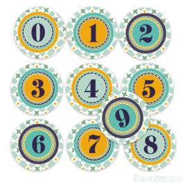 Cijferstickers voor op de gelukskaartjes per 25 stuks
