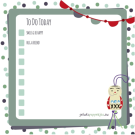 """To do today"" gelukspoppetjes notitieblokje per 10 stuks"