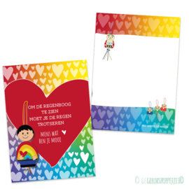 Om de regenboog te kunnen zien.... gelukskaartje per 25 stuks