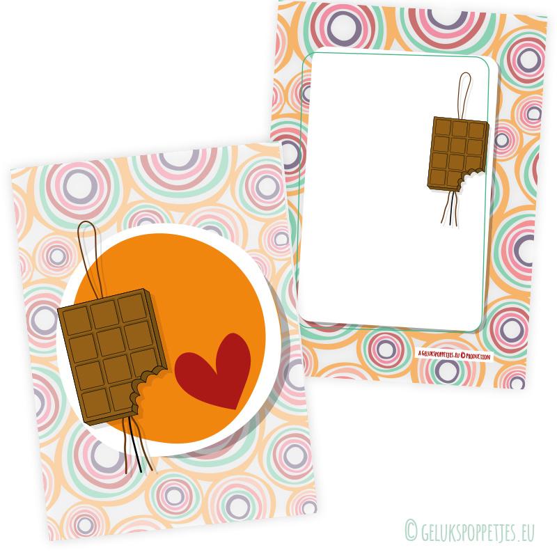 Retro gelukskaartje chocolade per 25 stuks