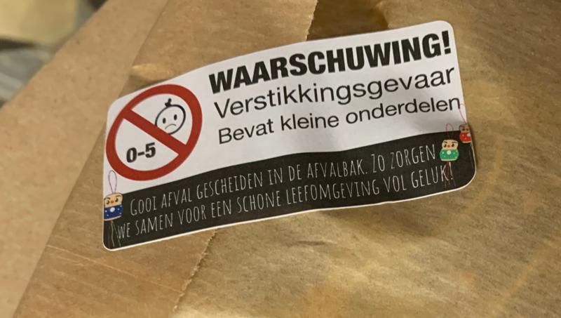 Waarschuwing stickers voor op je verpakkingen