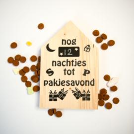 Houten huisje aftelkalender