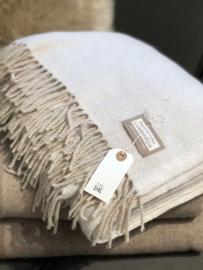 Lichtbeige plaid met wol van Lombarda