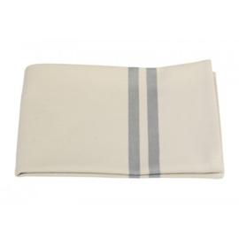 Beige keukenhanddoek met grijsblauwe streep in katoen