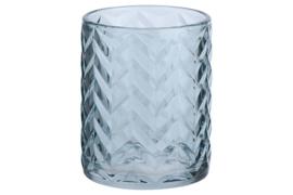 Theelichthouder Zigzag in blauw glas