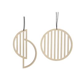 Set van 2 ronde houten hangers