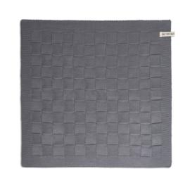 Gebreide handdoek grijs