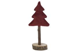 Fluwelen kerstboompje in bordeaux