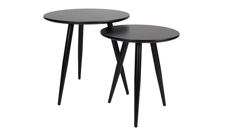Set van 2 zwart gelakte bijzettafels