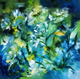 Just blue flowers 100x100cm