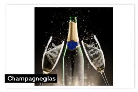 Champagneglas met tekst