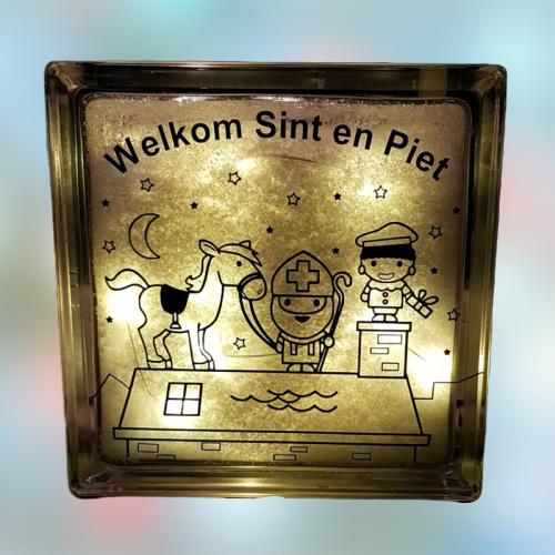 Welkom Sint en Piet Glasblok