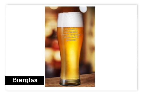 Bierglas met tekst