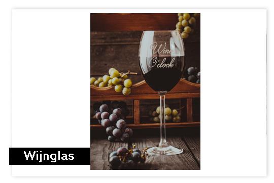 Wijnglas met tekst