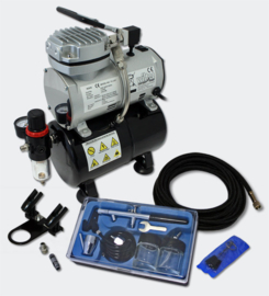 Airbrush compressor set 5 met 1 pistool AS189 beginners