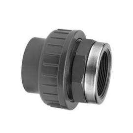 "PVC 3-delige koppeling 16 bar 32 mm x 1"" met versterkingsring"