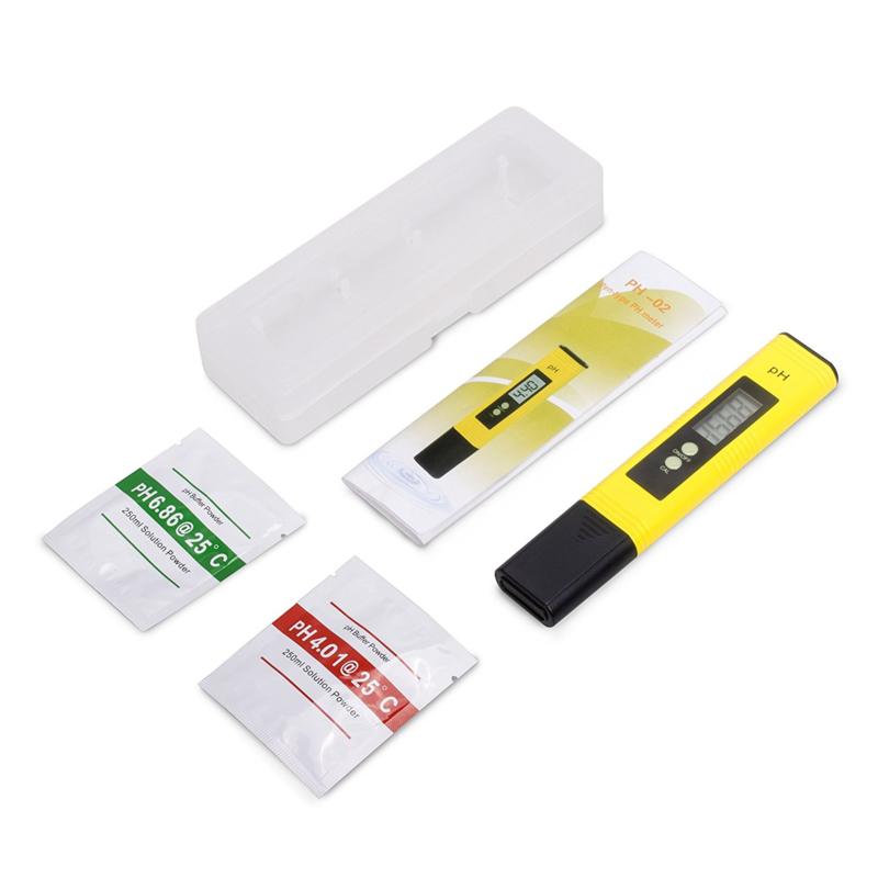 Digitaal pH meter zwembad geel inclusief opbergbox + batterijen