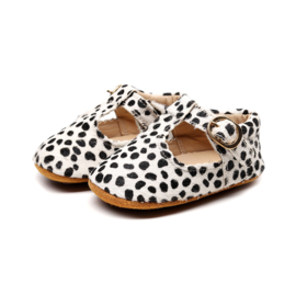 Witte leren Supercute schoenen met zwarte stipjes