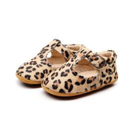 Bruine leren Supercute schoenen met luipaardprint print