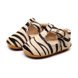 Bruine leren Supercute schoenen met zebra print