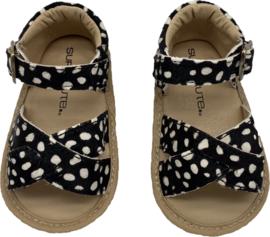 Leren Supercute sandalen zwart met witte stipjes