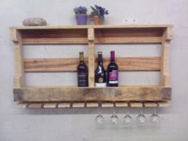 Robuust dubbel wijnrek van pallethout