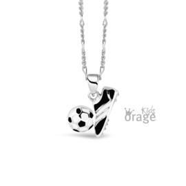 Zilveren kinderketting Voetbalschoen met bal (ORAGE)