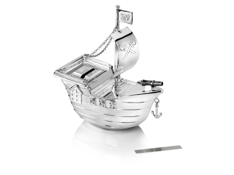 Verzilverde piratenboot spaarpot