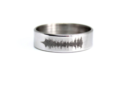 Ring met geluidsgolf edelstaal