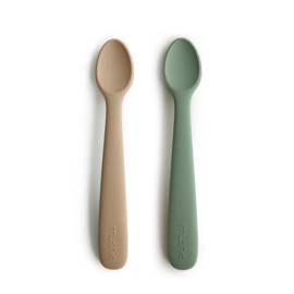 Silicone Feeding Spoons - dried thyme / natural