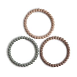 Mushie | Pearl Teething Bracelet - clary sage / tuscany / desert sand
