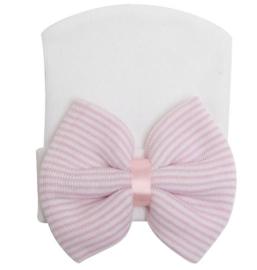 Geboorte mutsje met strik wit/roze