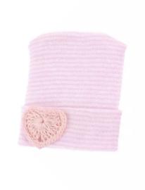 Geboorte mutsje met hartje | roze