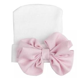 Geboorte mutsje grote strik | wit met roze strik