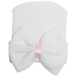 Geboorte mutsje met strik wit met roze lint