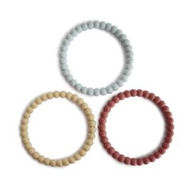 Mushie | Pearl Teething Bracelet - mellow / terracotta / periw