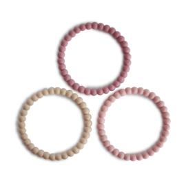 Mushie | Pearl Teething Bracelet - linen / peony / pale pink
