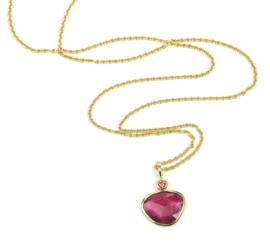 Gouden collier en hanger met roze toermalijn en diamant