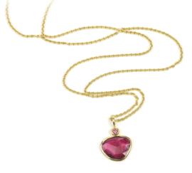 Gouden collier en hanger met roze toermalijn en diamant - verkocht