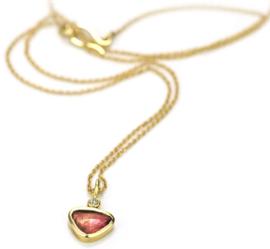 Gouden collier en hanger met bi-color toermalijn en diamant - verkocht
