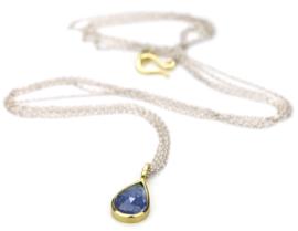 Zilveren collier met tanzaniet gezet in goud