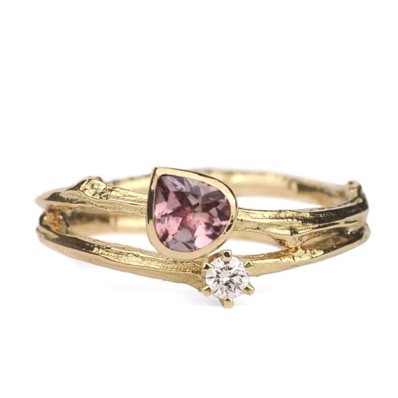 Dubbele twijgjesring met vingerafdrukken, toermalijn en diamant - verkocht