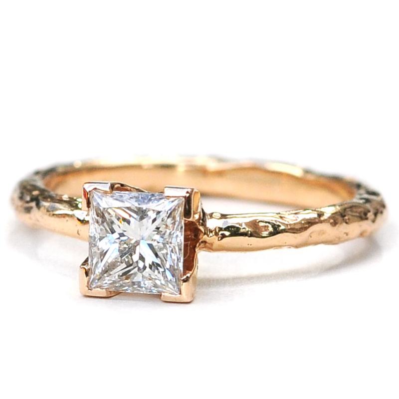 Gouden structuur ring, set trouwringen