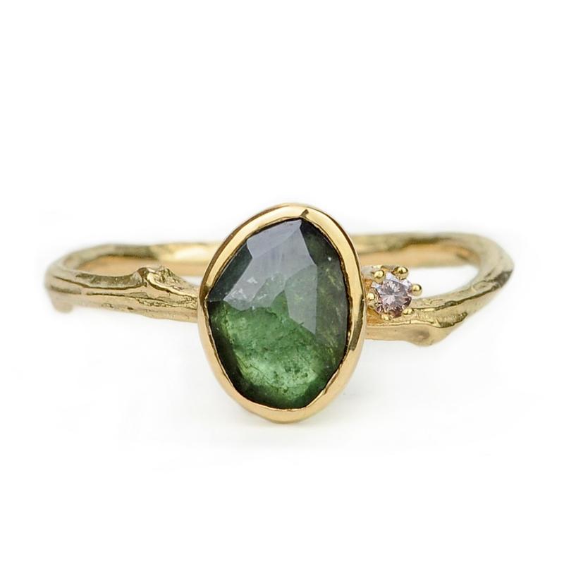 Gouden Tiny Blossom ring met groene toermalijn en bruine diamant - verkocht