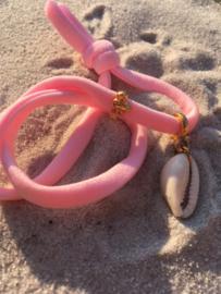Elastisch Ibiza koordje met flamingo en schelpje