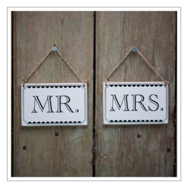 MR / MRS - STOELBORDJES · SET ZWART WIT