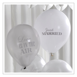 BALLONNEN · JUST MARRIED / LOVE IS IN THE AIR ZILVER · 8ST