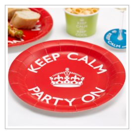 BORDJES · ROOD 'KEEP CALM PARTY ON' · 8ST