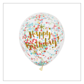 CONFETTI BALLONNEN · HAPPY BIRTHDAY · MULTICOLOUR · 6ST