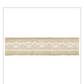 BAND JUTE MET KANT · NATUREL WIT 5CM
